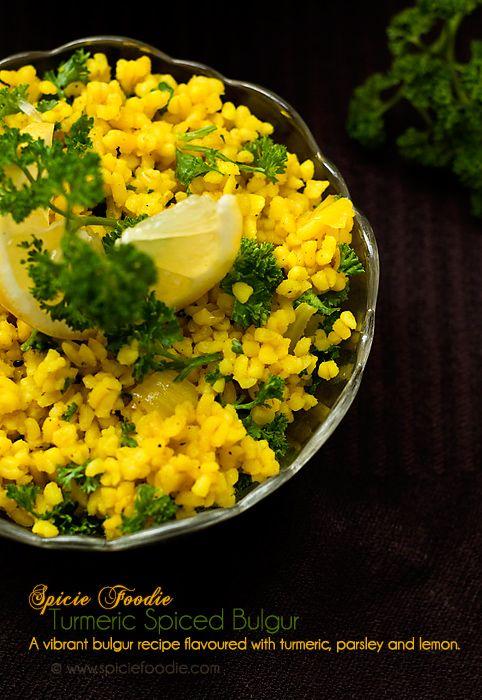 Turmeric Spiced Bulgur   Vegan Bulgur Recipe Spiced with Turmeric, Parsley and Lemon @SpicieFoodie