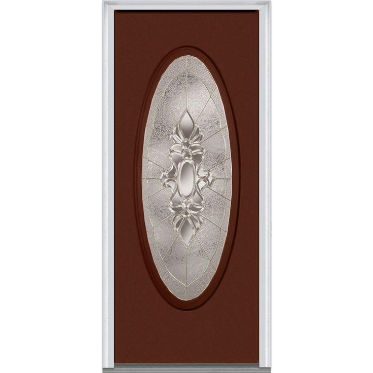 Milliken Millwork 31.5 in. x 81.75 in. Heirloom Master Decorative Glass Full Oval Lite Painted Fiberglass Smooth Exterior Door, Redwood
