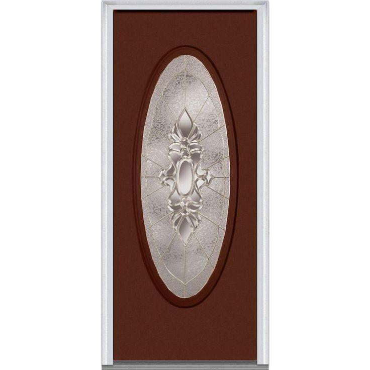 Milliken Millwork 37.5 in. x 81.75 in. Heirloom Master Decorative Glass Full Oval Lite Painted Fiberglass Smooth Exterior Door, Redwood