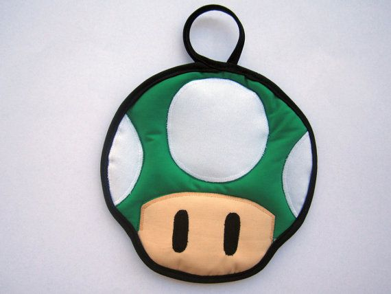 Green Super Mario Mushroom Pot Holder by OfflinePixels on Etsy