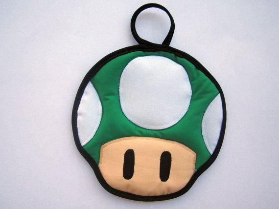 Green Super Mario Mushroom Pot Holder by OfflinePixels on Etsy