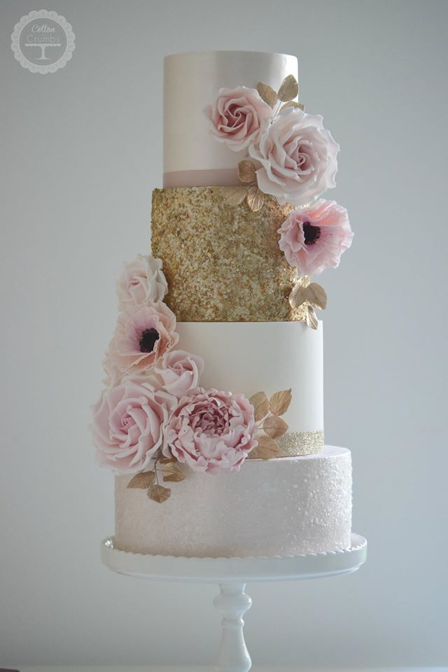 Blush pink and gold sequins wedding cake ...