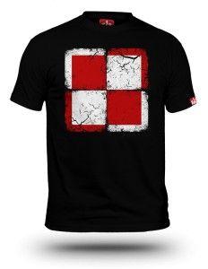 Koszulka patriotyczna Szachownica lotnicza czarna męska