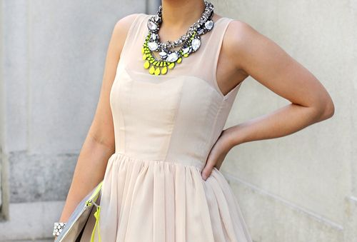 Neon Summer - Statement Necklace: Little Dresses, Neon Accessories, Statement Necklaces, Nudes Dresses, Statement Jewelry, The Dresses, Skater Dresses, Neon Yellow, Chunky Necklaces