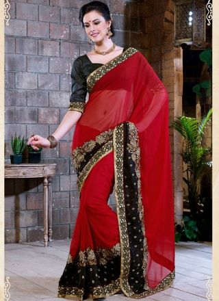 Hot Red And Black Designer Party Wear Saree http://www.angelnx.com/Sarees