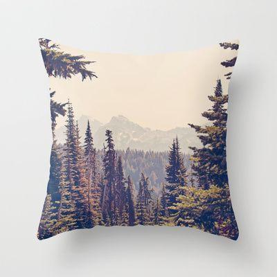 Mountains through the Trees Throw Pillow by Kurt Rahn - $20.00