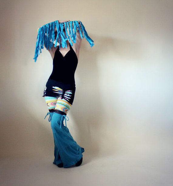 Skirted Flow Pants, Fringed Arm Warmers, Geometric Leggings, Upcycled Clothes, Festival Clothing, Hula Hooping, Burning Man, Size Medium