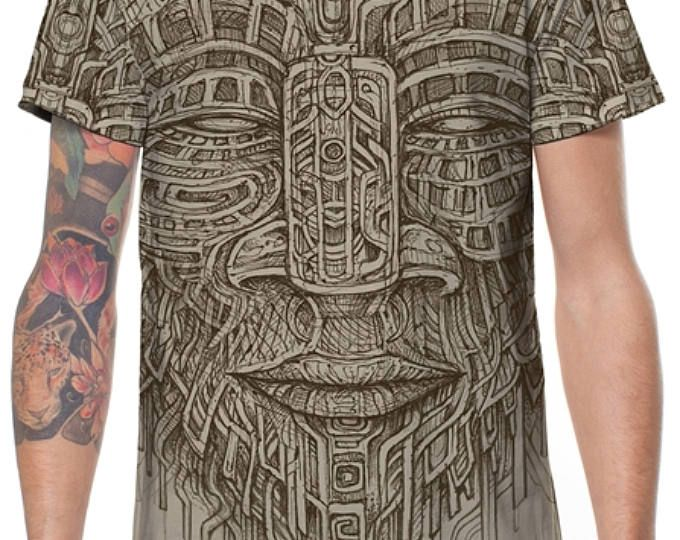 Cool MenT -Shirt,Psy Tance Goa,Burning Man,Gift For Men,Festival Clothing,Mens Tribal Shirt,Spiritual Top,Tribal T Shirt,Printed T Shirt.