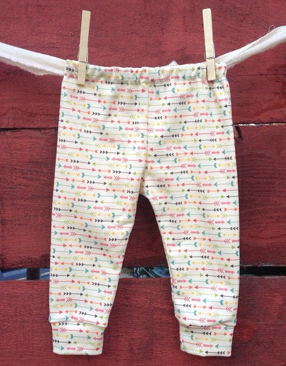Arrow Baby leggings, infant leggings, organic cotton leggings, printed leggings on Etsy, $25.00