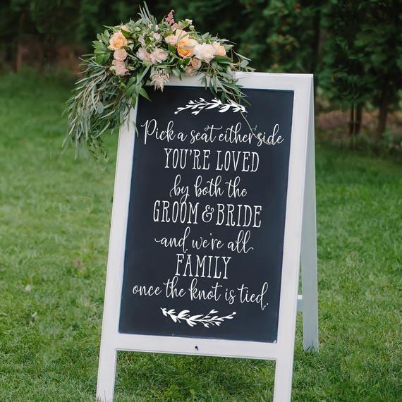 Pick a Seat Sign Decal | Chalkboard Wedding Sign Decal | DIY Sidewalk Sign | Wedding Decor | We're a