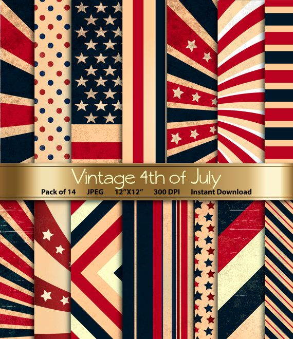 Vintage Fourth of July Digital Paper: Patriotic by GoneDigital Planning a 4th of July party this year? Then you're going to need some eye-catching invitations. With this assortment of vintage themed patriotic papers, you can craft yourself enviable invites for a vintage themed celebration. What's more, they're great for paper decorations too.