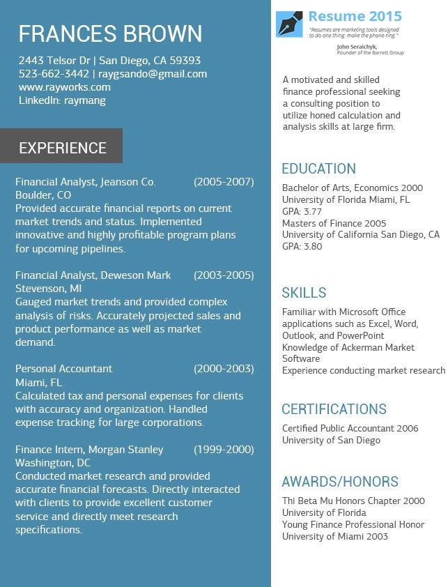26 best resumes images on Pinterest Resume format, Resume ideas - national resume writers association