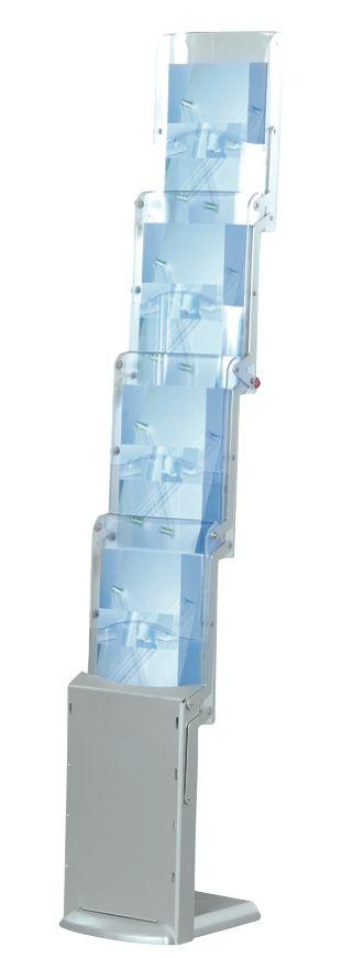 ZIP - Portadepliant pieghevole, di facile montaggio e trasporto nella sua sacca. Ideale per fiere e presentazioni, ma anche per lo showroom e la rete di vendita. La base è in mdf verniciata colore argento satinato con laccatura anti-graffi o o tonalità legno bi-colore con laccatura protettiva trasparente e i profili laterali sono in alluminio anodizzato. E' composto da n. 4 tasche porta cataloghi DIN A4 in policarbonato antiurto e resistente ai raggi UV.