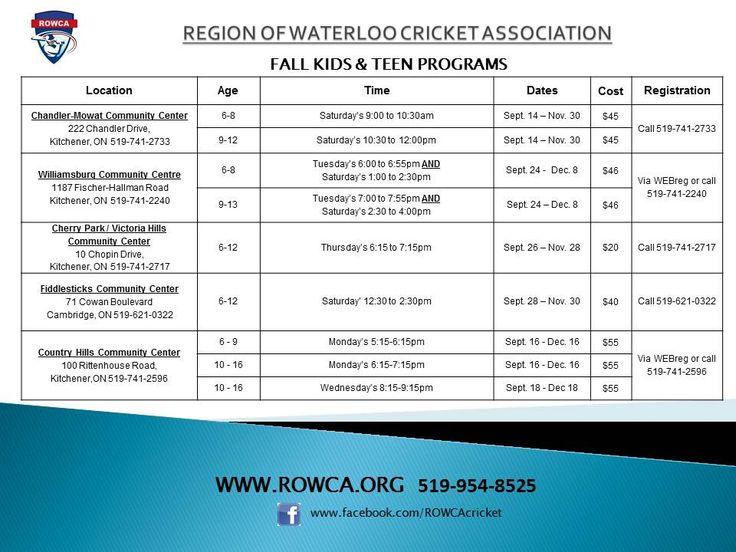 ROWCA Fall Kids/Teen Program List - Registration Starts tomorrow!