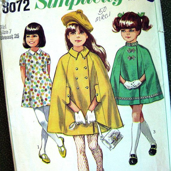 1960s Girls Cape and Dress  Frog Closures  Vintage by SelvedgeShop, $12.00