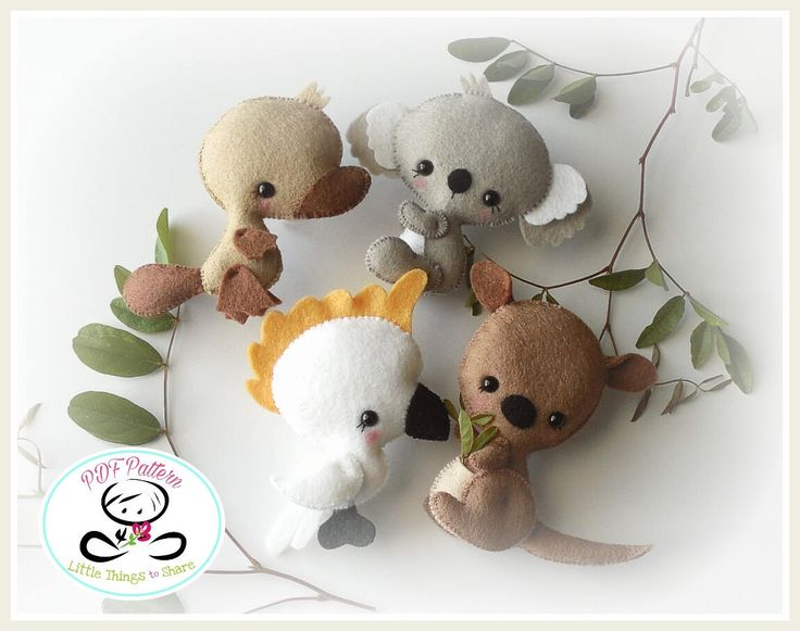 AUSTRALIAN BABY ANIMALS - SET OF FOUR (PDF) These adorable guys are quick, easy and fun to make, but also so versatile! You can make a lovely garland for a kidss room or nursery decor; even better, you can add them to a very cute baby mobile. This PDF document will give you instructions and patterns to hand-sew all FOUR animals. This set includes:BABY COCKATOO, BABY KOALA, BABY KANGAROO AND BABY PLATYPUS. They all measure about 3.5 inches. **You will receive an electronic file with pattern…