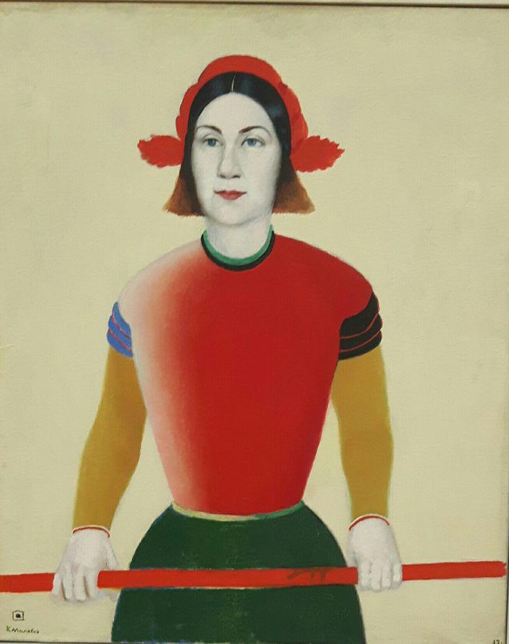 Ragazza con palo rosso 1932-1933. Tretjakov Gallery