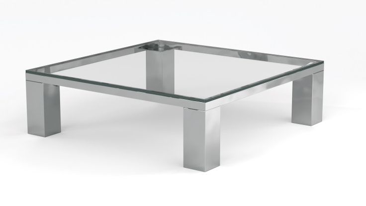 Table basse carr e en verre contemporaine arklow for Table basse verre metal