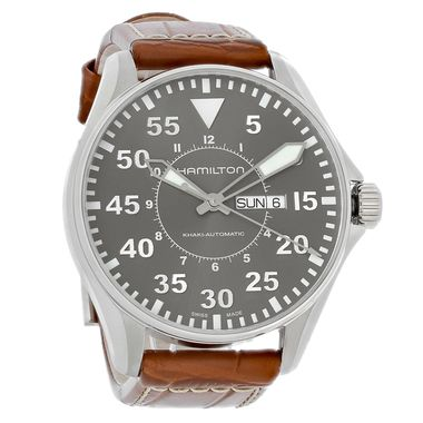 Hamilton Khaki Aviation Mens Brown Leather Swiss Automatic Watch H64715885 - InventoryAdjusters.com