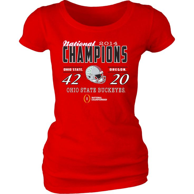 Ohio State Buckeyes Juniors 2014 College Football Playoff National Champions Defeating Dyed Score T-Shirt - Scarlet - $18.04