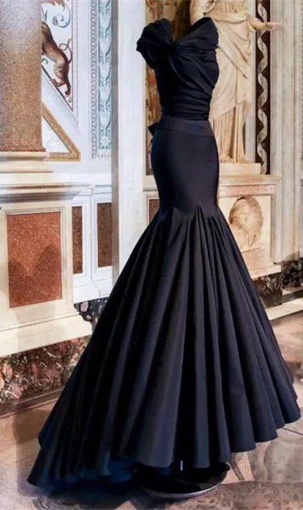 Custom Made Navy Blue/Black Prom Dress, Mermaid Evening Dress,Sleeveless Party Gown,Floor Length Pegeant Dress,Fishtail dress,
