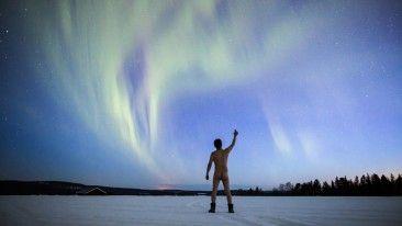 Cheers! Our Aurora photographer Antti Pietikäinen took a selfportrait. Muonio, finnish Lapland © Antti Pietikäinen