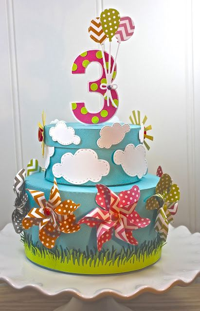 Empty Nest Crafter: Lil' Inker 3rd Birthday Celebration. What an awesome 3d paper cake.
