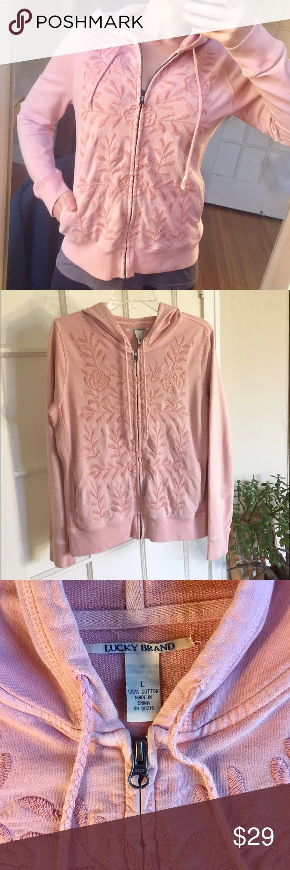 Lucky Brand pale pink embroidered hoodie Beautiful light pink floral embroidered hoodie. Used- in great shape! Only one tiny pen mark (see photo). Women's size L. Lucky Brand Tops Sweatshirts & Hoodies