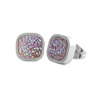 Pink Faux Druzy Stud Earrings Add these fabulous velvety studs to your wardrobe. The glittering effect of tiny crystals in soft pink is sure to leave you swooning! Product Material - Zinc Alloy, Imitation Rhodium, Stainless Steel Posts