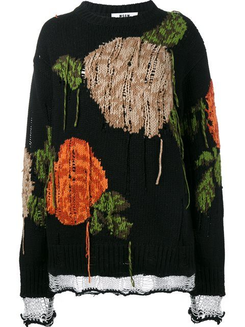 Купить MSGM oversized distressed rose sweater в Browns from the world's best independent boutiques at farfetch.com. 400 бутиков, 1 адрес. .
