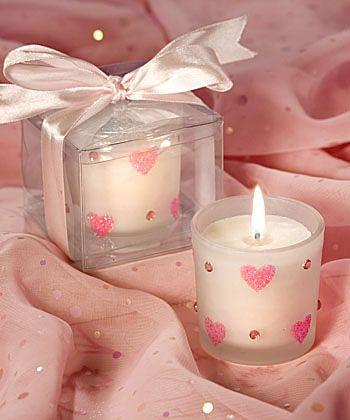 velas com coraçãozinho rosa