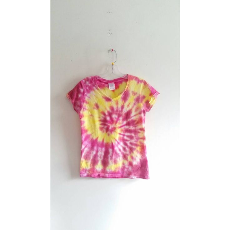 Vintage 70s 1970s Neon Pink Yellow Tie Dye Spiral Sunrise T-Shirt Top V neck T Shirt Tee Sz Small