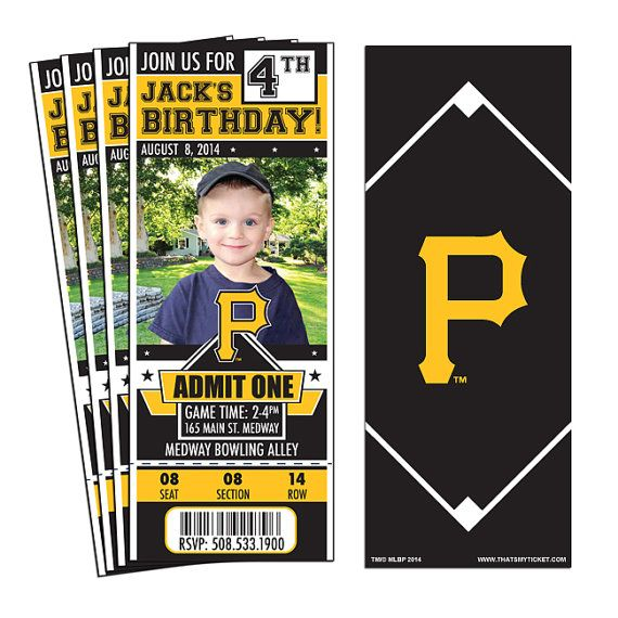 12 Pittsburgh Pirates Birthday Party Ticket by ThatsMyTicket