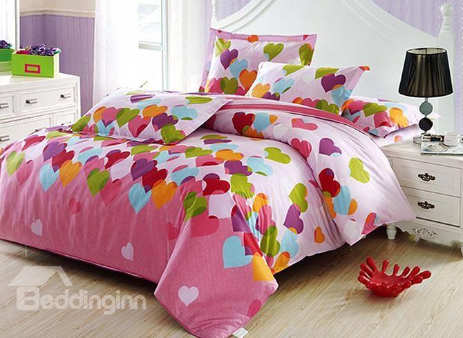 Adorable Heart Shape Pattern 4-Piece Cotton Kids Duvet Cover Sets - beddinginn.com