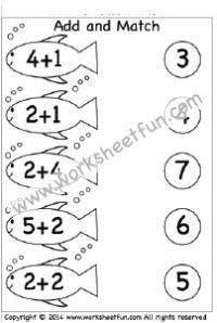 kindergarten addition worksheets add and match 2 worksheets free printable worksheets