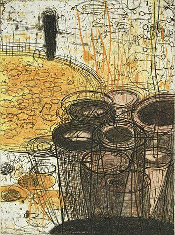 Akiko Taniguchi. Potential, 2000. Collagraph, relief, chine colle. Edition of 20. 7-7/8 x 5-7/8 inches.