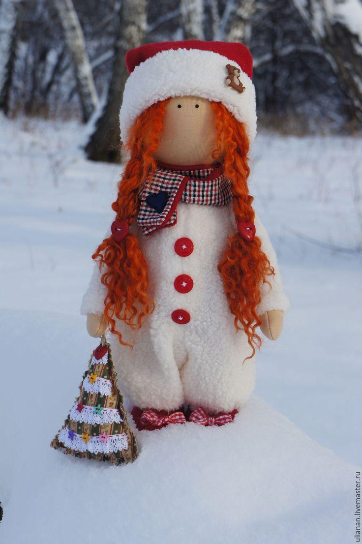 Купить Зимняя девочка. - белый, кукла ручной работы, подарок, Новый Год, текстильная кукла