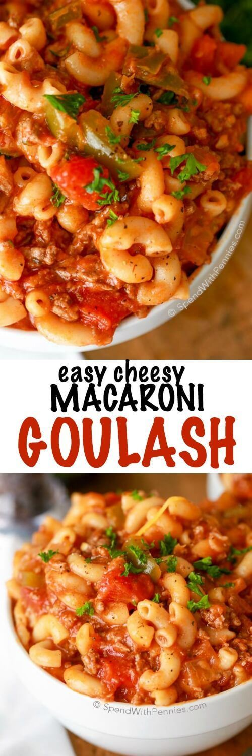 This EASY Goulash recipe is a family favorite and quick to prepare.Lean beef is simmered in a deliciously fast tomato sauce & topped with cheese for a comforting dish everyone will love!  This makes a huge batch and is perfect to feed a crowd.