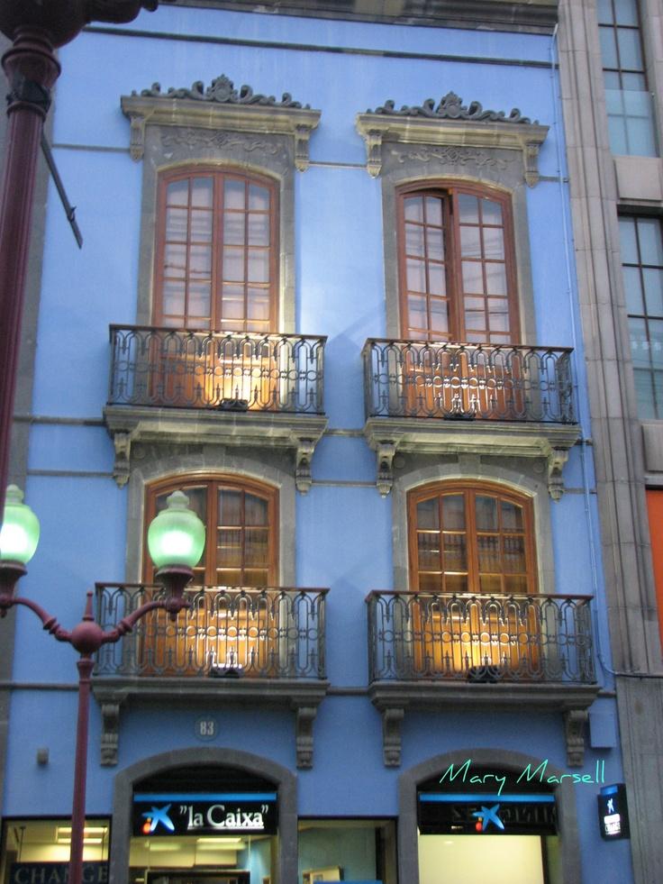 Blue facade with fabulous balcony wrought iron decor in Las Palmas de Gran Canaria, Canary Islands