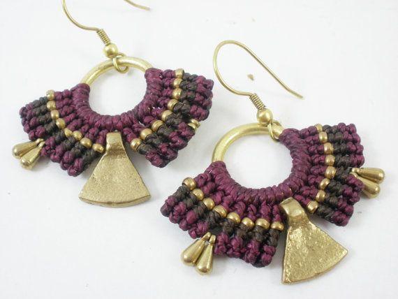Macrame estaba pendientes joyería egipcia de bronce por BySinuhe                                                                                                                                                      Más
