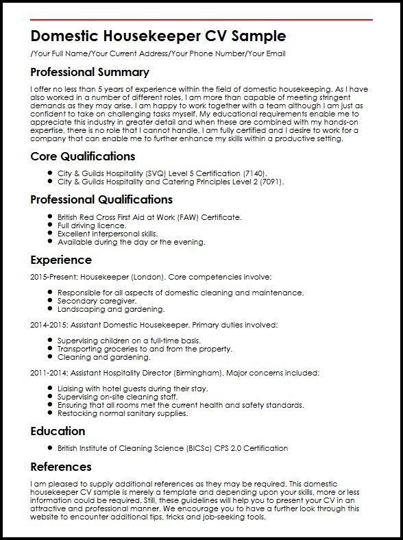Domestic Housekeeper Cv Sample Myperfectcv Resume Examples Job Resume Resume