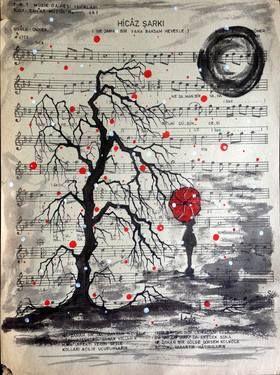 "Saatchi Art Artist Leyla Özlüoğlu; Painting, ""hicaz"" #art #illustration #drawing #draw #oldpaper #picture #artist #sketch #sketchbook #paper #pen #pencil #artsy #beautiful #book #gallery #musicpaper #creative #photooftheday #graphic #graphics #artoftheday #vintage"