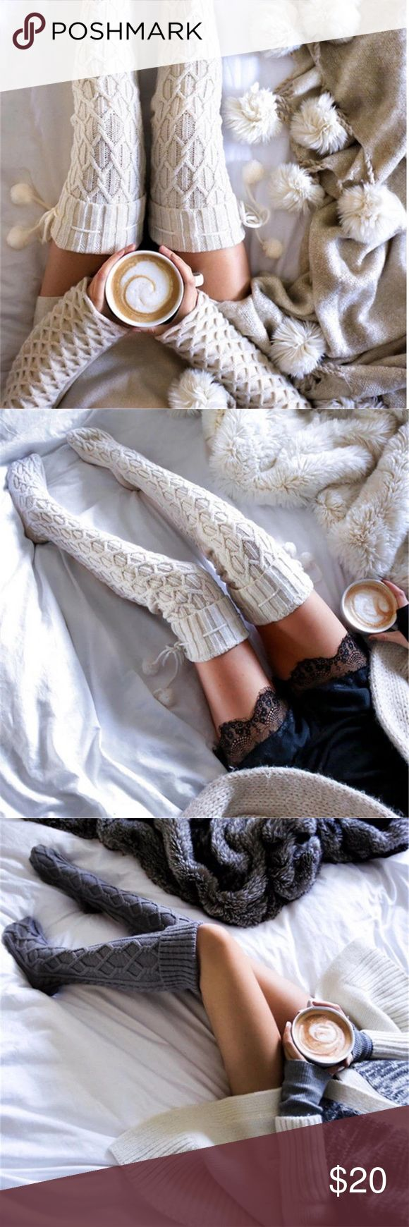 ❄️Plush White Pom Thigh High Socks❄️ AVAILABLE  Gorgeous thick white thigh high socks. Super cozy and comfortable. Pom. Fuzzy. Perfect for lounging around in and to keep you warm. Not from FP. No trades. Make offers through offer button Free People Accessories Hosiery & Socks