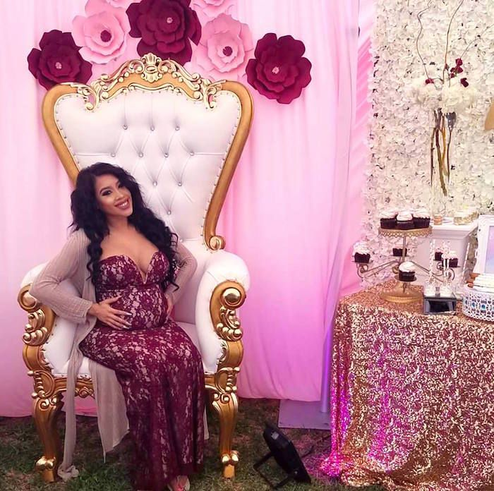 Mom-to-be throne from a Burgundy & Blush Unicorn Baby Shower on Kara's Party Ideas | KarasPartyIdeas.com (13)