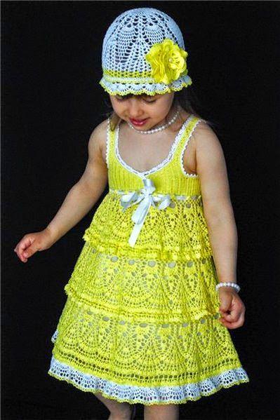 Vestido y gorro para niña tejido al crochet | Todo crochet