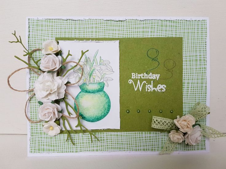Spring Card made by Anke Soeters with CraftEmotions clearstamps A6 - sneeuwklokjes / snow bells /  Schneeglocken / 8718736028701