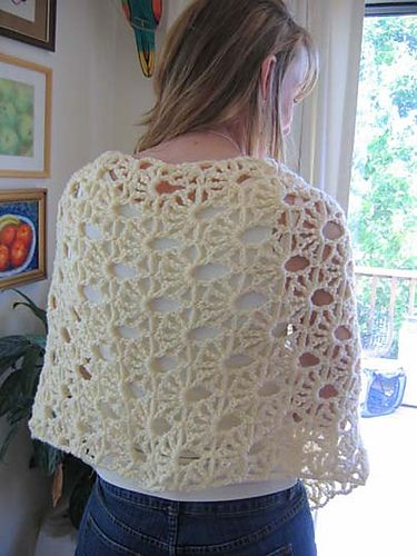 An experiment in trying a new lace pattern on a larger scale that was a total surprise when completed! It's worked from center back outward to accommodate the directional stitch pattern. Unique & bold look, accented with chain fringe at each end. An intermediate-level project that only looks complex!