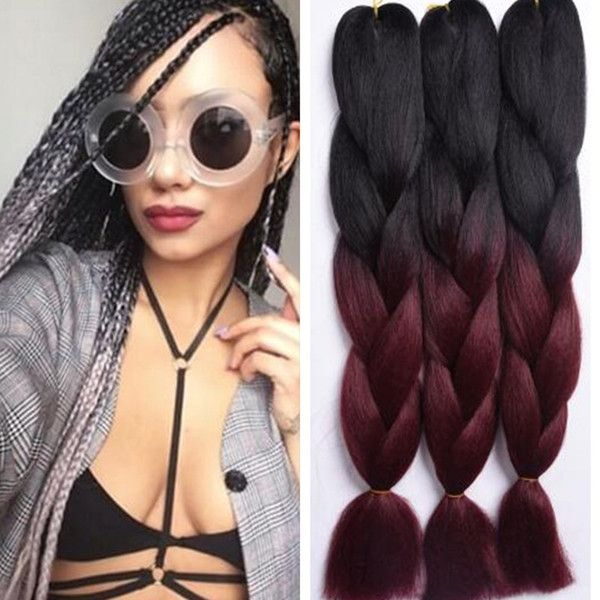 24inch ombre Colors Expression Braid 100g Ultra Kanekalon Expression Braiding Hair Synthetic Crochet Box Braids Hair Jumbo
