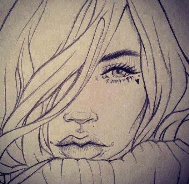 Disegno ragazza matita disegni pinterest matita for Disegni tumblr facili a matita