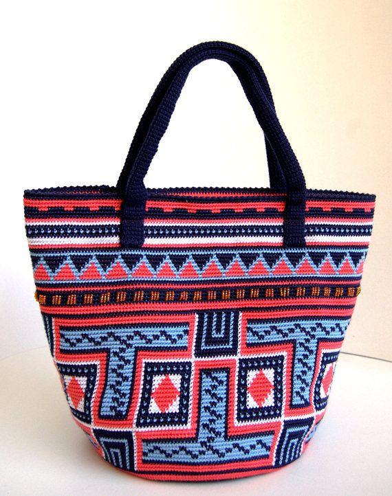 Crochet handbag  Crochet handle bag with beads  Colorful